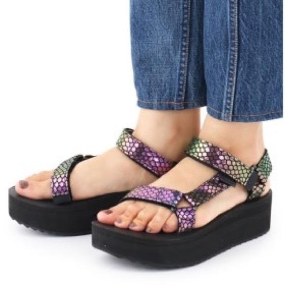 7ad609cb98 Teva Shoes | Original Iridescent Flatform Sandals | Poshmark